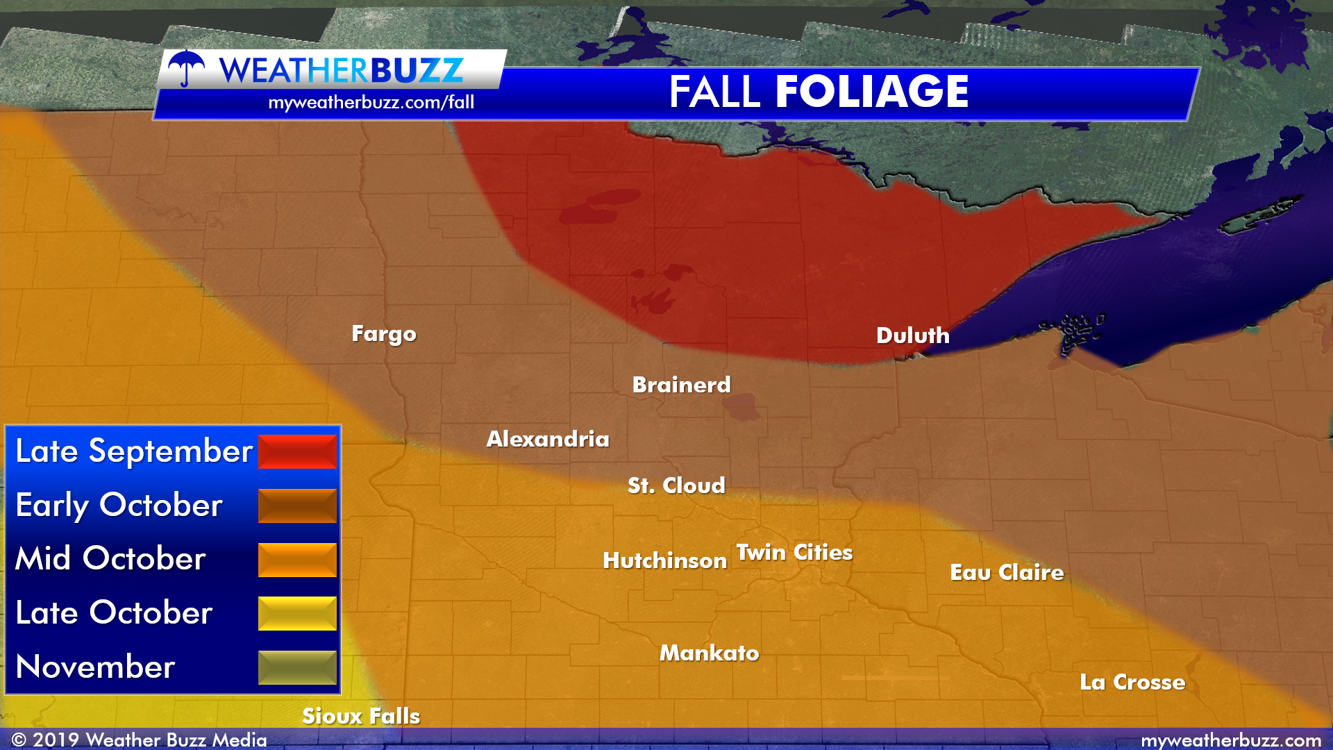 Fall Foliage Map for Minnesota