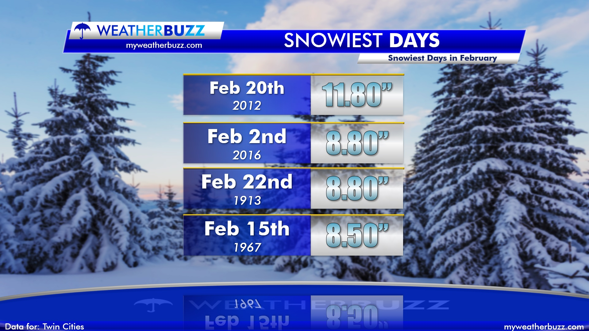 Top Four Snowiest Februarys' in the Twin Cities