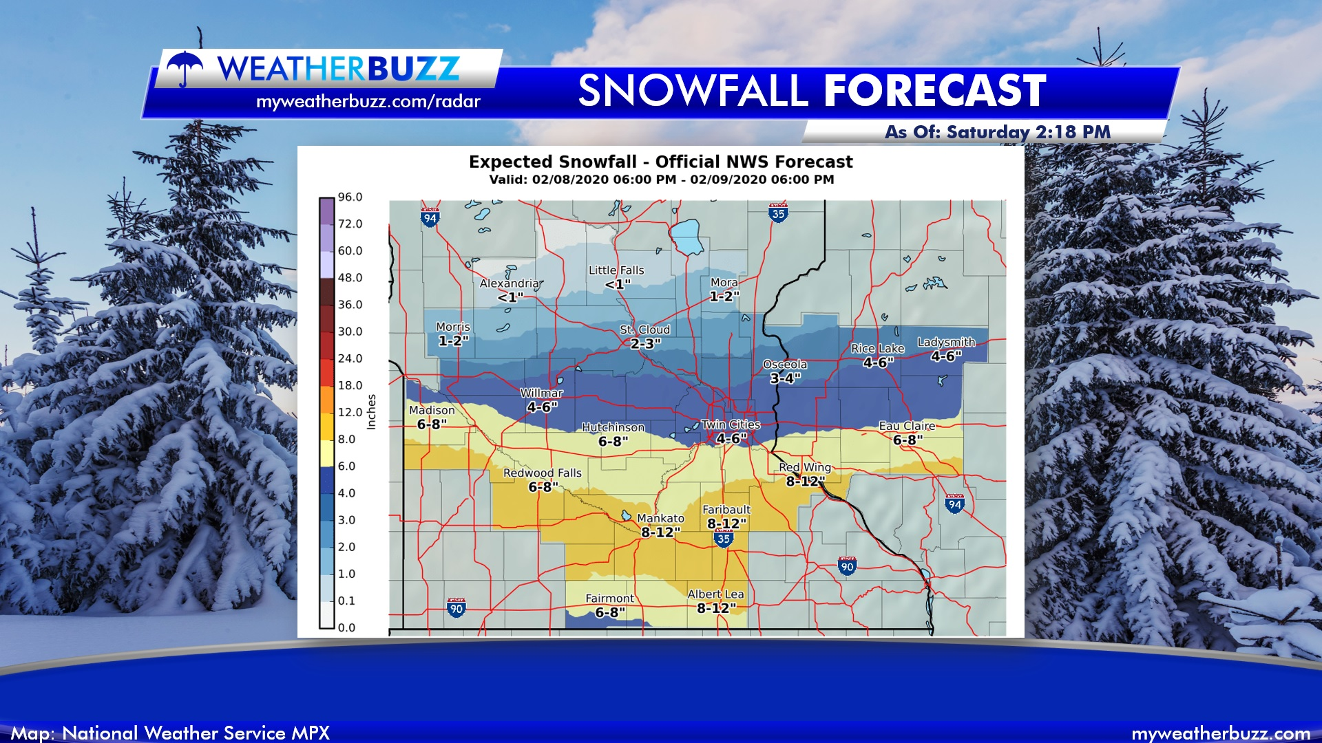 National Weather Service Expected Snow Totals Forecast
